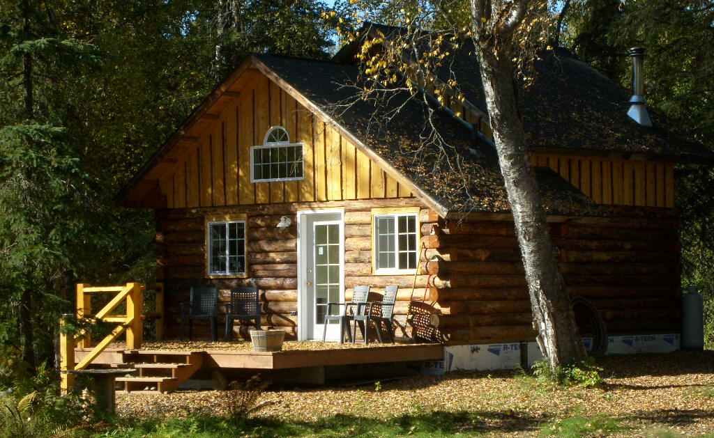 The woods surround your log cabin retreat.